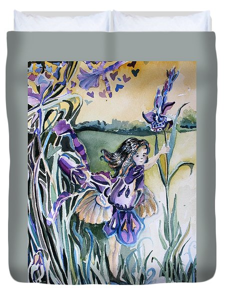 Duvet Cover featuring the painting The Orchid Fairy by Mindy Newman