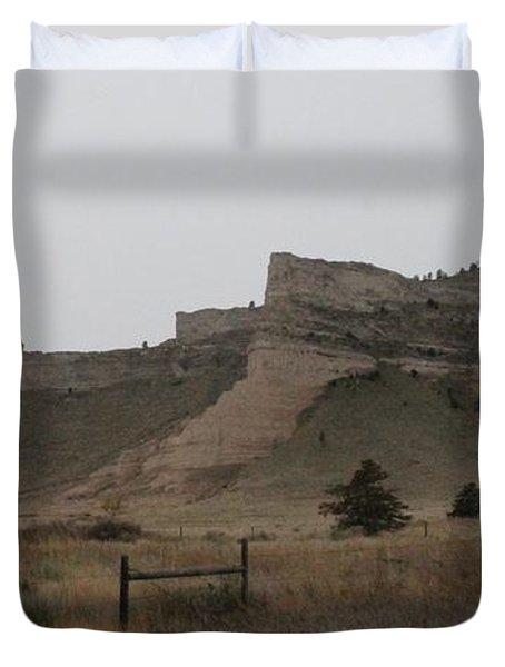 The Oregon Trail Scotts Bluff Nebraska Duvet Cover