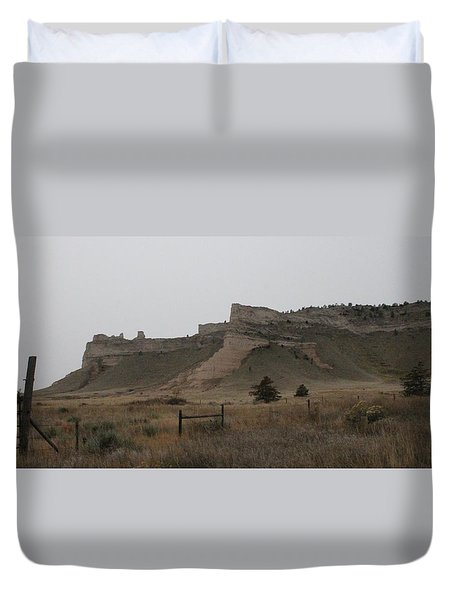 The Oregon Trail Scotts Bluff Nebraska Duvet Cover