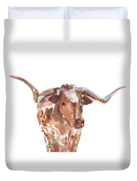 The Original Longhorn Standing Earth Quack Watercolor Painting By Kmcelwaine Duvet Cover