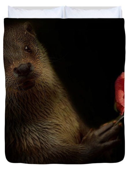 Duvet Cover featuring the photograph The Otter by Christine Sponchia