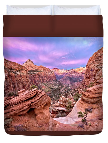 Duvet Cover featuring the photograph The Overlook by Eduard Moldoveanu