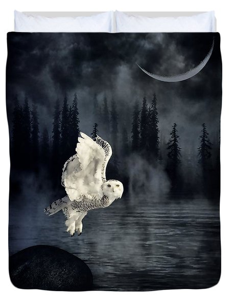 The Owl And Her Mystical Moon Duvet Cover by Heather King