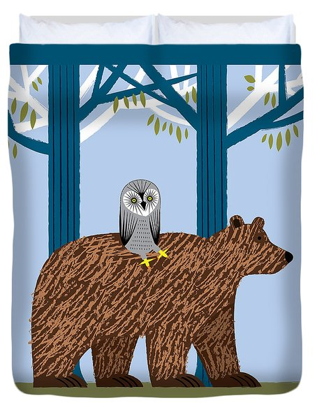 The Owl And The Bear Duvet Cover