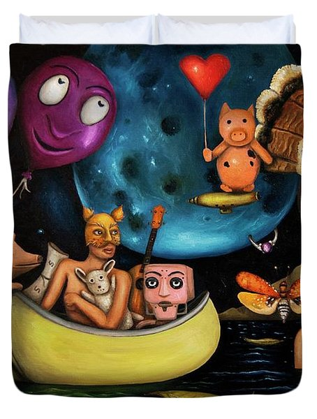 The Owl And The Pussycat In The Beginning Duvet Cover by Leah Saulnier The Painting Maniac