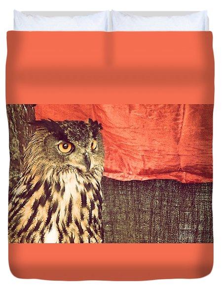 The Owl Duvet Cover by Pedro Venancio