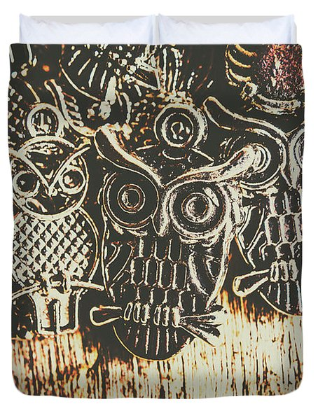 The Owlactic Gathering Duvet Cover