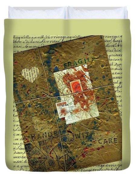 Duvet Cover featuring the mixed media The Package by P J Lewis