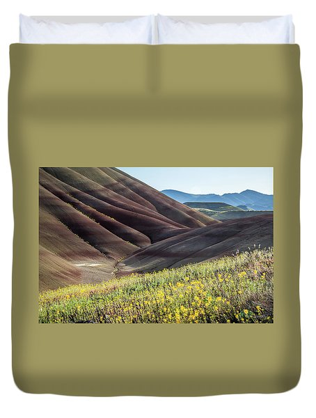 The Painted Hills In Bloom Duvet Cover