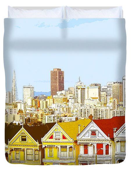 The Painted Ladies In San Francisco California Duvet Cover