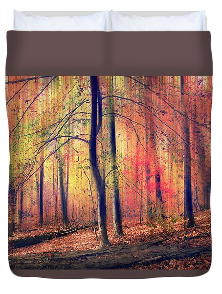 Duvet Cover featuring the photograph The Painted Woodland by Jessica Jenney