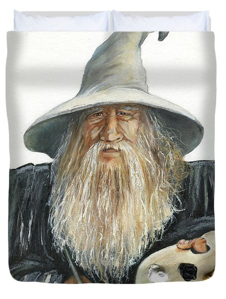 The Painting Wizard Duvet Cover by J W Baker