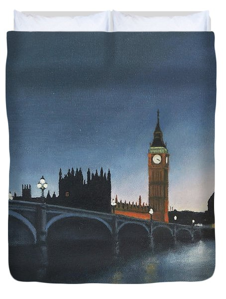The Palace Of Westminster London Oil On Canvas Duvet Cover