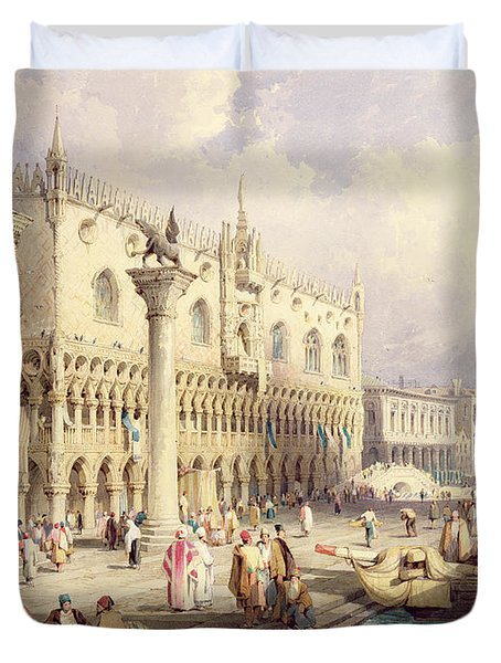 The Palaces Of Venice Duvet Cover by Samuel Prout