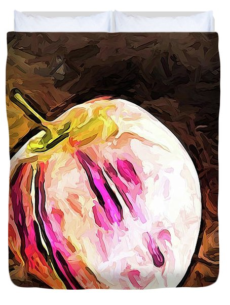 The Pale Pink Apple With The Hot Pink Stripes Duvet Cover