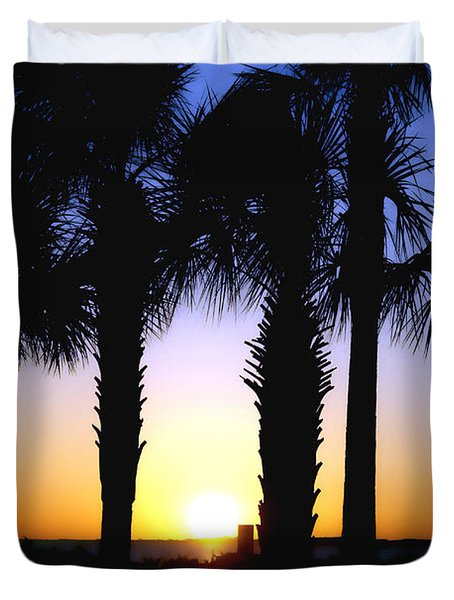 The Palms At Sunset Duvet Cover by Debra Forand