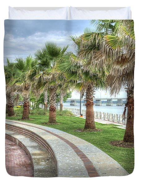 The Palms Of Water Front Park Duvet Cover