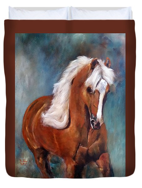 Duvet Cover featuring the painting The Palomino 2 by Barbie Batson