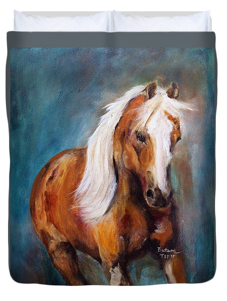 Duvet Cover featuring the painting The Palomino by Barbie Batson