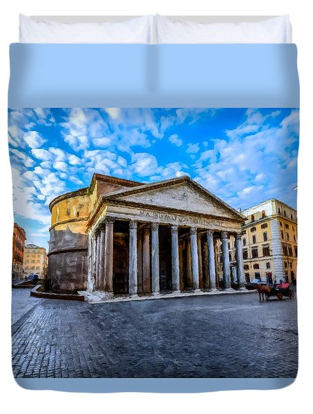 The Pantheon Rome Duvet Cover by David Dehner