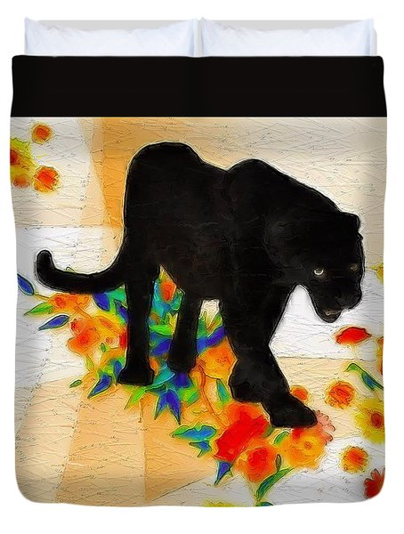 The Panther In The Flowerbed Duvet Cover
