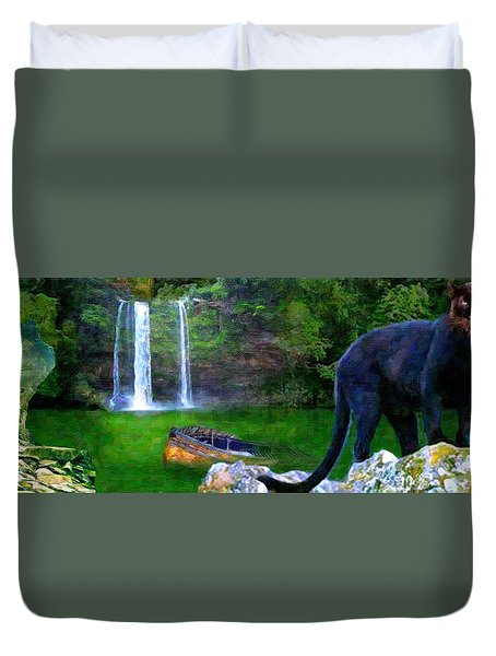 Duvet Cover featuring the painting The Panther by Michael Cleere