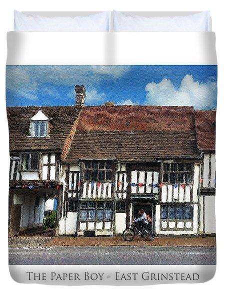 Duvet Cover featuring the digital art The Paper Boy - East Grinstead by Julian Perry