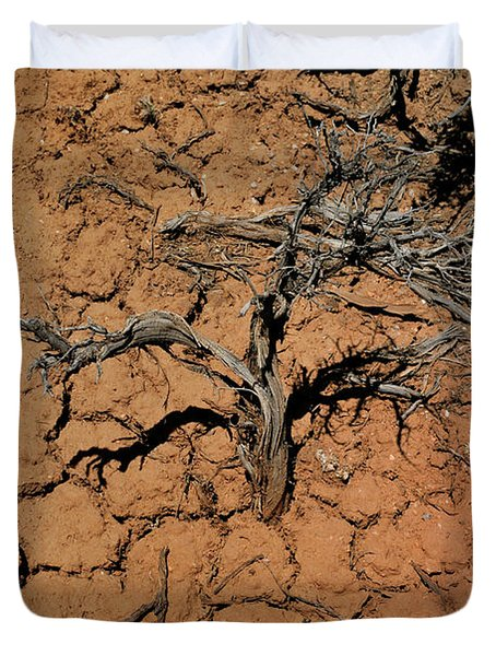 Duvet Cover featuring the photograph The Parched Earth by Ron Cline