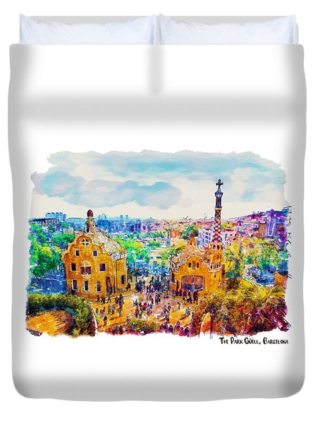 Park Guell Barcelona Duvet Cover by Marian Voicu