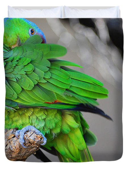 The Parrot Duvet Cover by Donna Greene