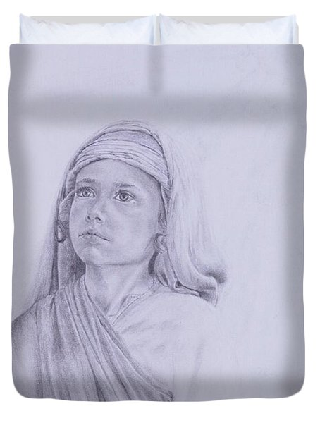 The Path Before Him From The Life Of Jesus Series Duvet Cover by Susan Harris