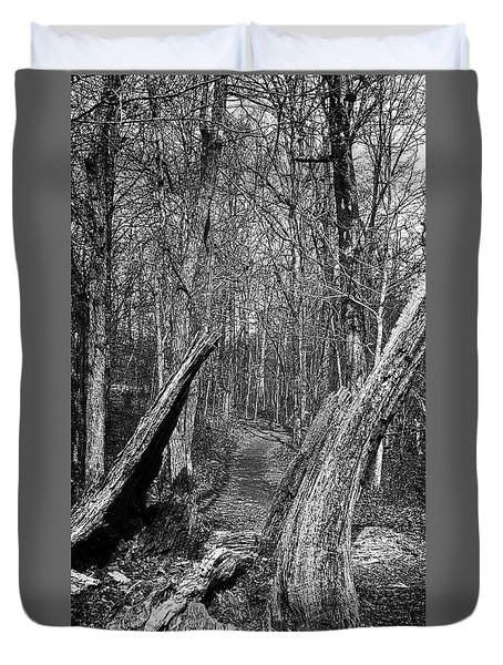 The Path Through The Woods Bandw Duvet Cover