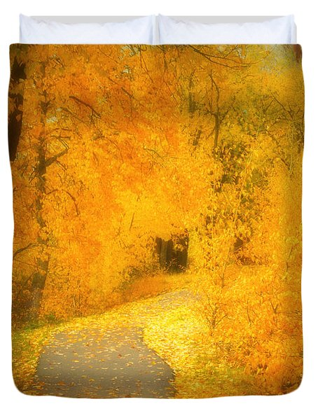 The Pathway Of Fallen Leaves Duvet Cover by Tara Turner