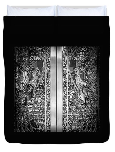 Duvet Cover featuring the photograph The Peacock Door by Howard Salmon