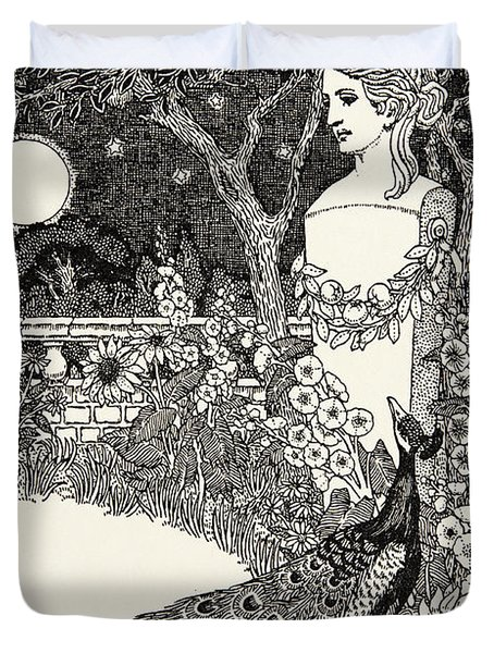 The Peacock's Complaint, From A Hundred Fables Of Aesop Duvet Cover