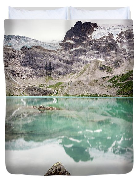 Duvet Cover featuring the photograph The Peak In A Turquoise Lake by Pierre Leclerc Photography