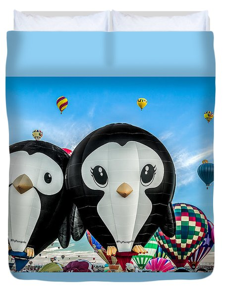 Puddles And Splash - The Penguin Hot Air Balloons Duvet Cover