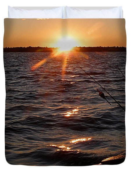 Duvet Cover featuring the photograph The Perfect Ending - After A Good Day Of Fishing by Angie Rea