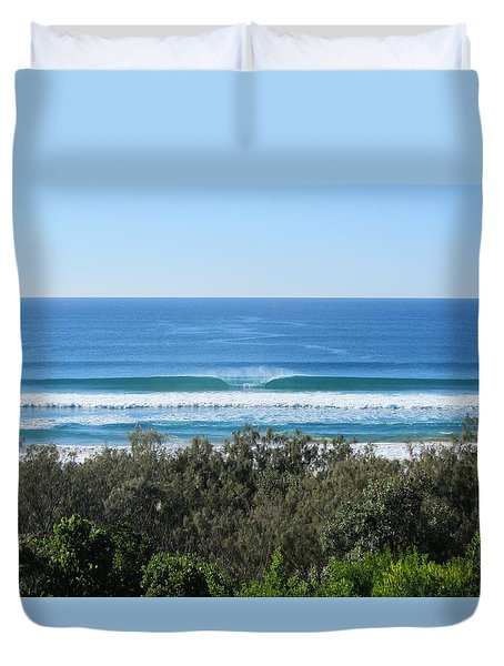 The Perfect Wave Sunrise Beach Queensland Australia Duvet Cover by Chris Hobel