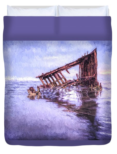 A Stormy Peter Iredale Duvet Cover
