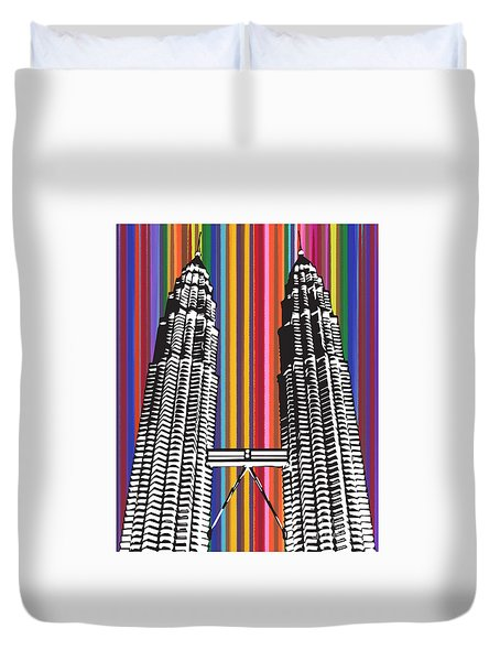 Duvet Cover featuring the painting The Petronas Towers  by Carla Bank