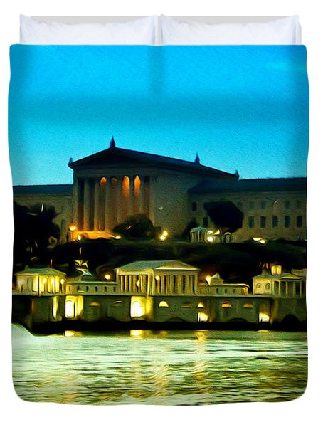 The Philadelphia Art Museum And Waterworks At Night Duvet Cover by Bill Cannon