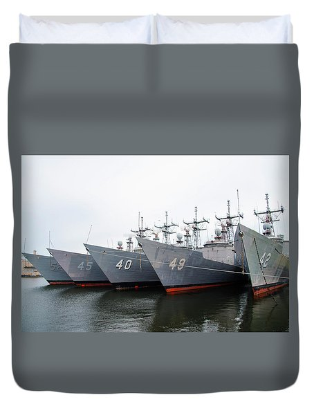 Duvet Cover featuring the photograph The Philadelphia Navy Yard by Bill Cannon