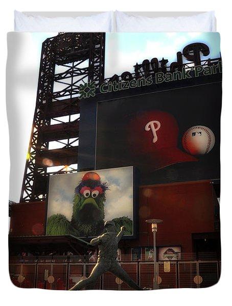 The Phillies - Steve Carlton Duvet Cover by Bill Cannon