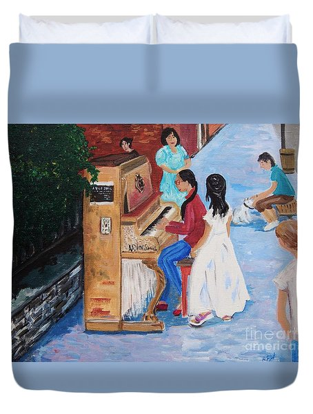The Piano Player Duvet Cover by Reb Frost