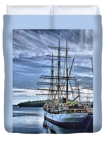 The Picton Castle Docked In Lunenburg Duvet Cover