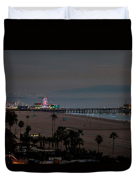 The Pier After Dark Duvet Cover