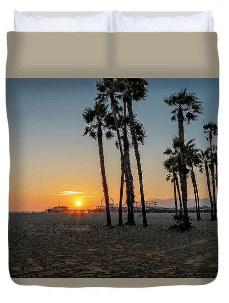 The Pier At Sunset Duvet Cover