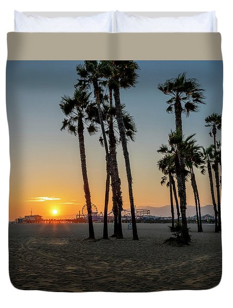 The Pier At Sunset - Square Duvet Cover