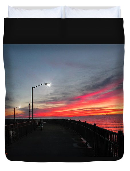 Duvet Cover featuring the photograph The Pier by Michael Rucker